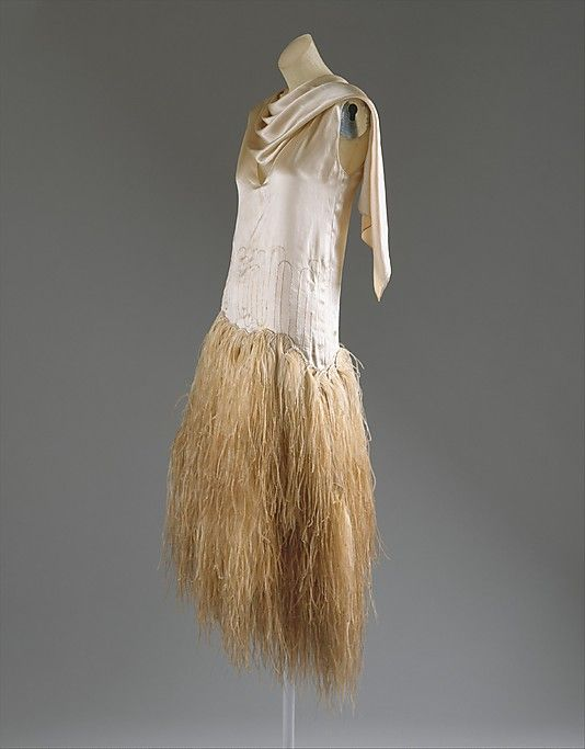 Evening Dress 1928, French, Made of silk and feathers