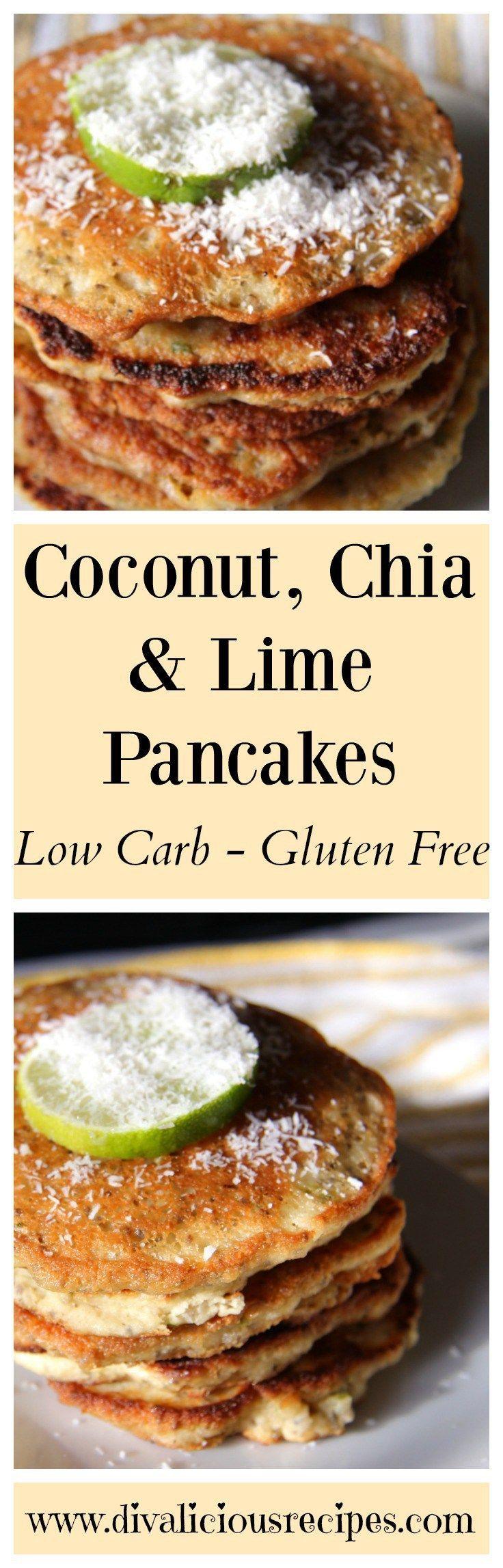 Chia pancakes made with coconut flour and chia seeds. Recipe http://divaliciousrecipes.com/2014/03/04/coconut-chia-lime-pancakes/