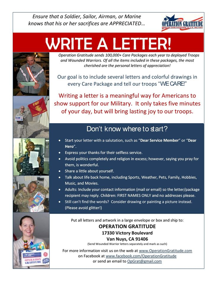 "Take five minutes to write a letter to say, ""THANKS for your service!""  https://www.operationgratitude.com/writeletters/"