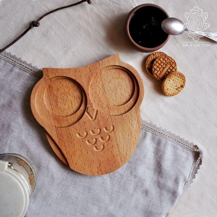 """Доска-поднос сервировочная """"Совушка"""". Доска-поднос в форме Совы - милый и удобный аксессуар. Пить чай на диване с бутербродами, а может и утренний завтрак с кашей - Совушка все подаст красиво."""