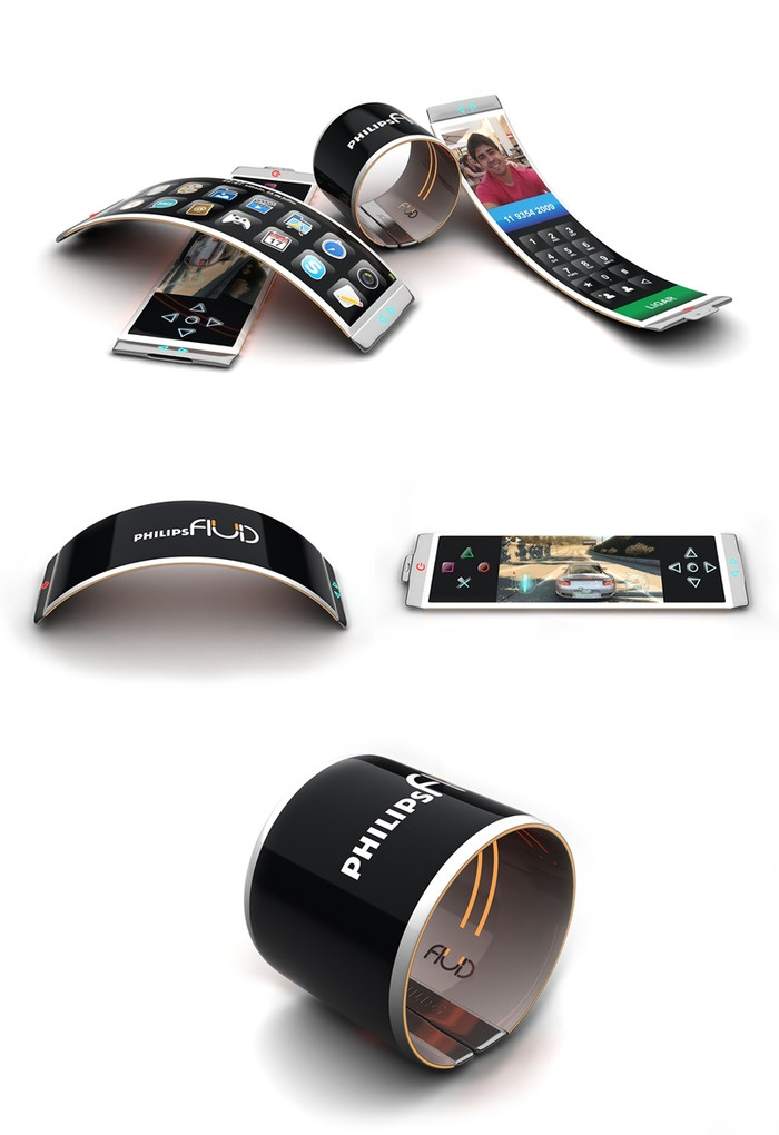 Fluid by PhilipsConcept Design Products, Philip Design, Smartphone Fluid, Concept Smartphone, Design Concepts, Fluid Concept, Concept Phones, Gadgets Tech, Fluid Smartphone How