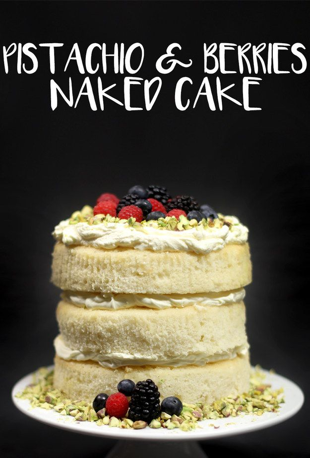 Pistachio & Berries Naked Cake
