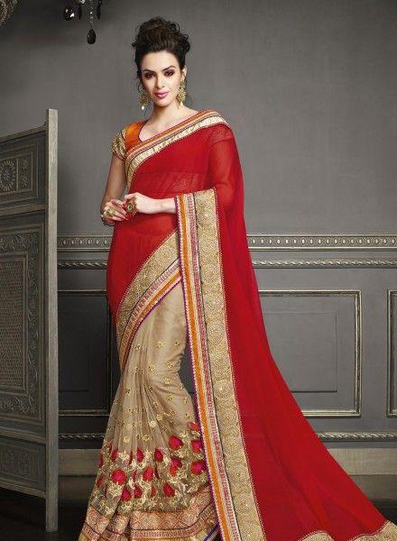 Half half Red & Beige designer saree with blouse E15287