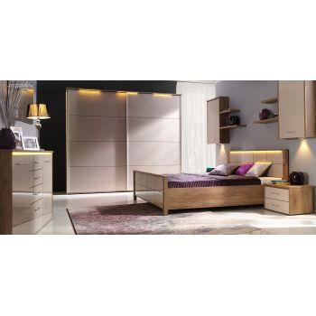 Set Dormitor Wienna complet, Modern. Culoare: Stejar Lefkada / Nisipiu. Material: Pal melaminat.