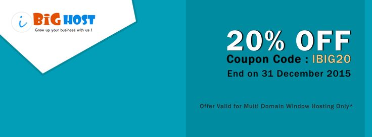 iBig Host 20% OFF on Multi Domain Hosting  Coupon Code : IBIG20 iBighost.in