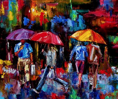 """Big Umbrellas"" Original Impressionism Cityscape Art Figurative Painting, Umbrella Paintings by Texas Artist Debra Hurd"