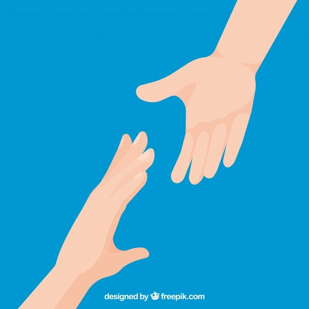 Helping Hand To Support Background In Flat Style Hand Illustration Help Logo Hand Photography