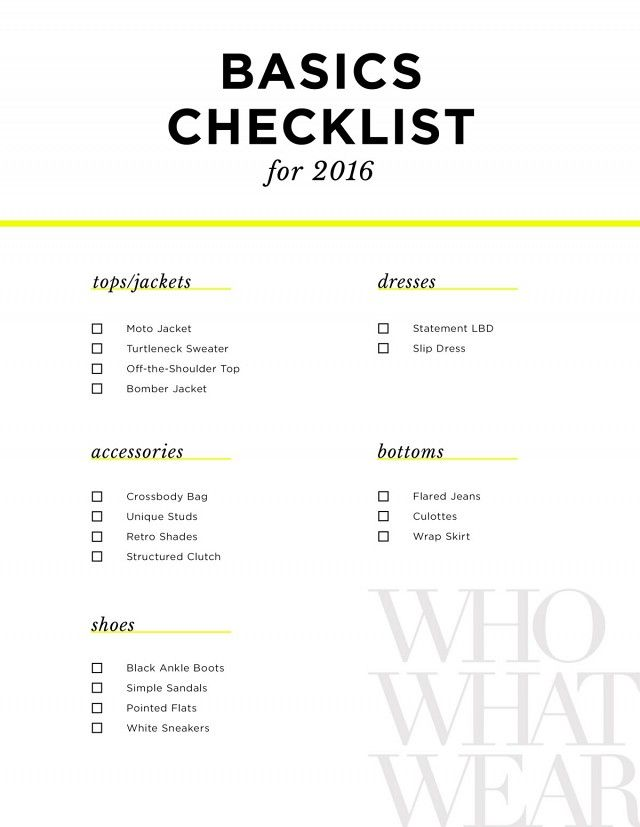 Your ultimate shopping checklist.