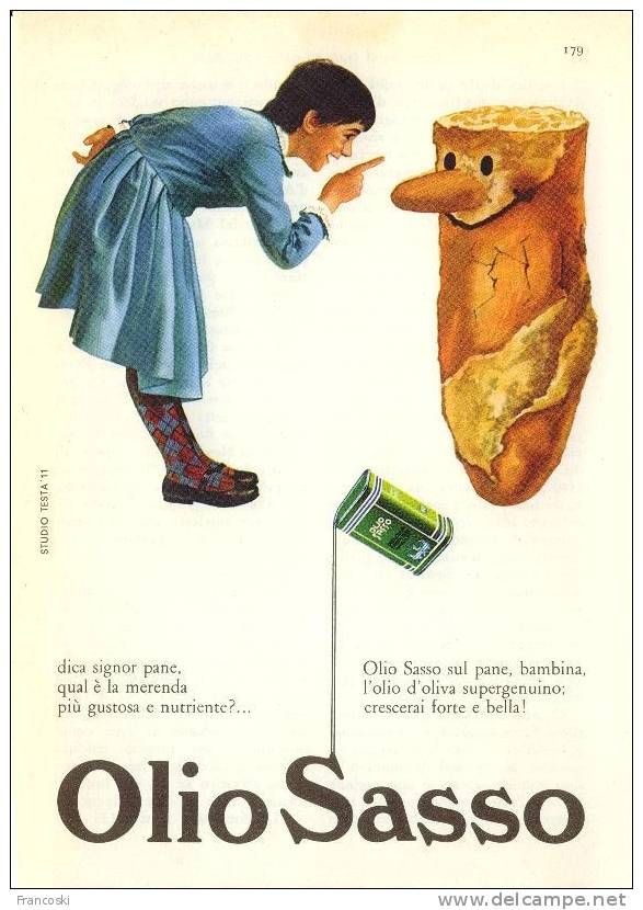 """Vintage Italian Posters ~ #illustrator #Italian #posters ~ Pubblicità """"Olio Sasso"""" Design Testa-1960´"""