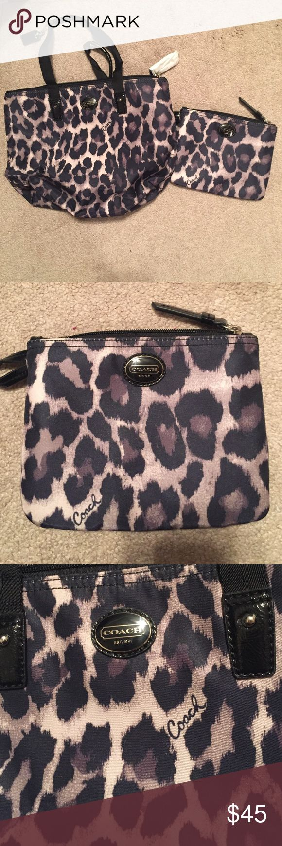 "NWT Coach Animal Print Bag and Matching Clutch Set includes a small Coach Tote and matching Coach clutch/make up bag. The bag is 9"" x 12"" and the matching Wristlet is 5.5"" x 7"". NWT smoke and pet free home ❤ Coach Bags Totes"