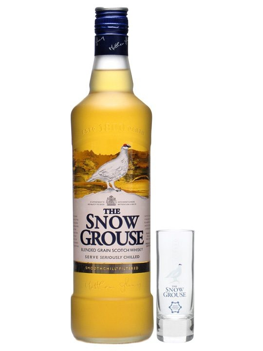 Snow Grouse Grain Whisky : Buy Online - The Whisky Exchange - A novel concept from Famous Grouse - a whisky specifically designed to be drunk cold.  Snow Grouse is a blend of grain whiskies and is recommended to be served straight from the freezer.