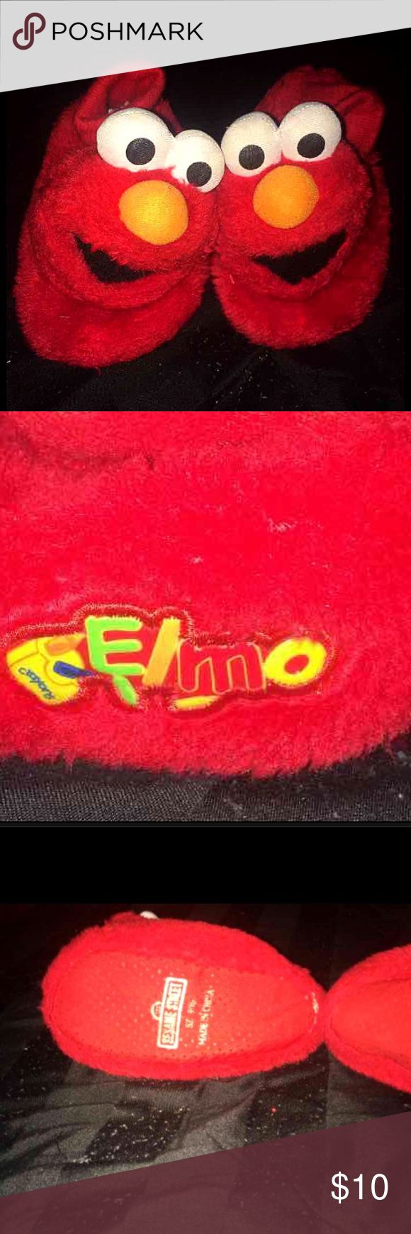ELMO Slipper ❤️ Adorable Elmo.  Slippers.   Pics show all detail good condition ready for. A new. Home  On bottom of one slipper only see ware  .  Size 9/10  is actual size marked on slipper  Size 9 Size10 Will ship in Polly bag to keep cost down   Tags; Sesame Street  Elmo  Big bird  Abby cadabby  Cookie Monster    Bundle for best possible deals  ✨ Sesame Street Shoes Slippers