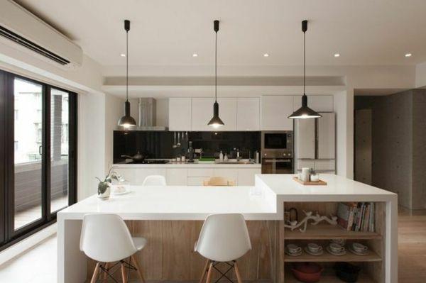 plan de travail cuisine en quartz blanc tabourets de bar