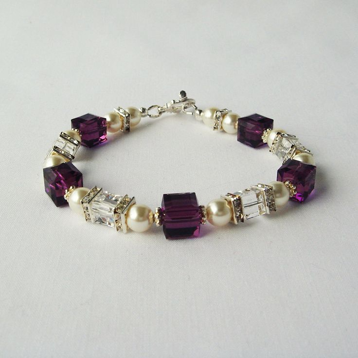 Elegant white Swarovski Pearl Bracelet with Amethyst Crystal Cubes and Rhinestone Sqaredelles February Birthstone Color