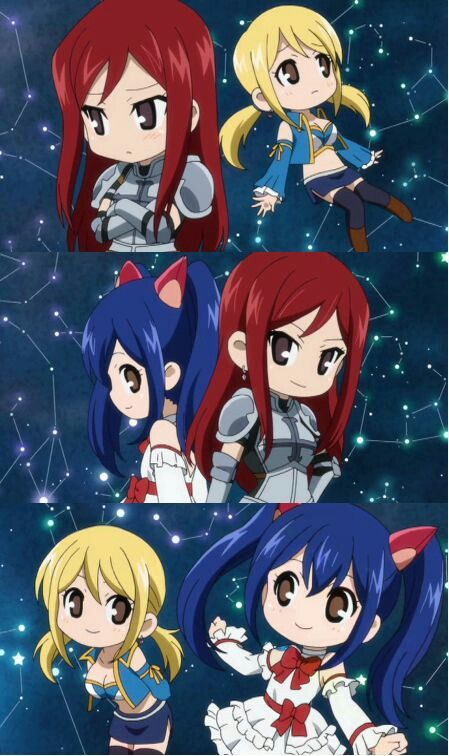 ...erza, wendy and lucy chibi...   Fairy tail anime, Fairy ...
