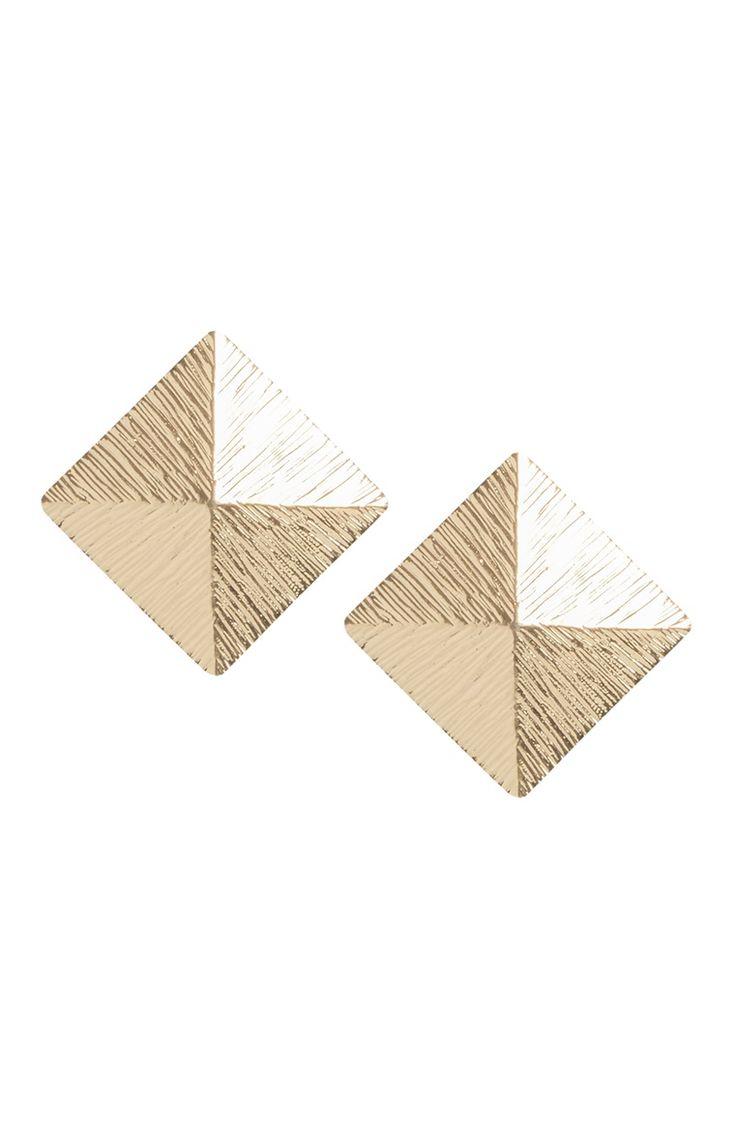 Primark - Pendientes de botón dorados cuadrados