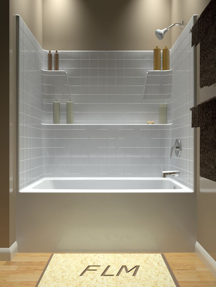 Small White Corner Tub Shower Combo For Bathroom Furniture Design  Inspirations With Rectangle Shaped White Bathtub Style That Have Metal  Stainless Steel ...
