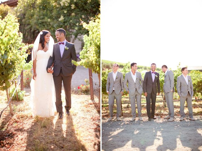Lovin the dark grey for the groom combined with the light grey for the groomsmen! | Via greenweddingshoes.com