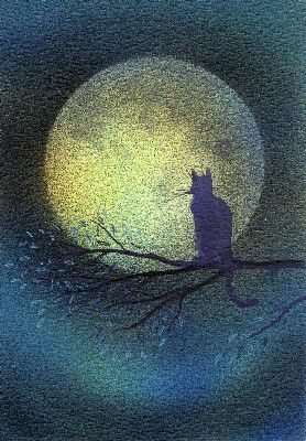 Keli Clark, Hypnotic night Cats are always on the edges of the Starpath. Dogs walk the center