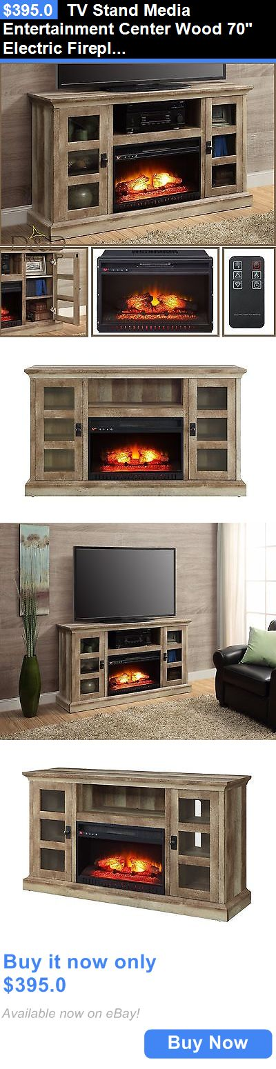 Entertainment Units TV Stands: Tv Stand Media Entertainment Center Wood 70 Electric Fireplace Heater + Storage BUY IT NOW ONLY: $395.0