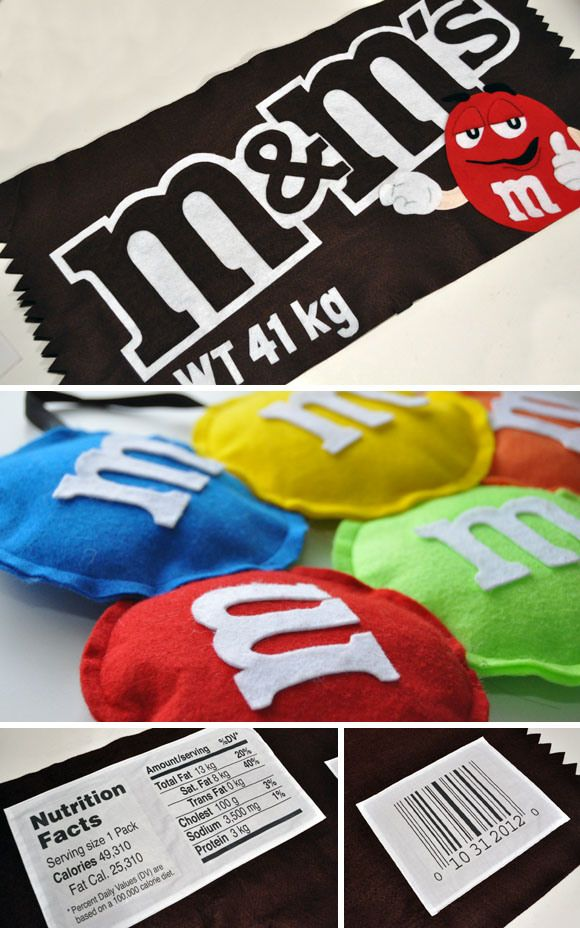 this is a costume idea, but I was thinking that I could make felt m&m bean…