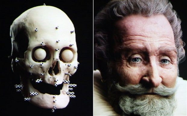Henri IV's face was reconstructed with the help of 3D imaging via 700 black and white photos of the skull