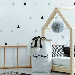 Ein mint/graues Kinderzimmer oder nur kleine farbige Akzente an der Wand?! Alles ist möglich mit diesen schönen kleinen Dreiecken, die du ganz  indi…