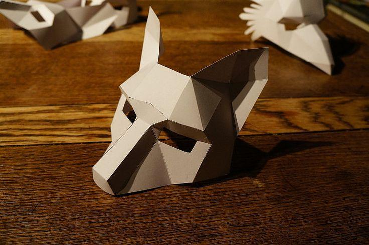Hacer una máscara de media cara de zorro por Wintercroft en Etsy