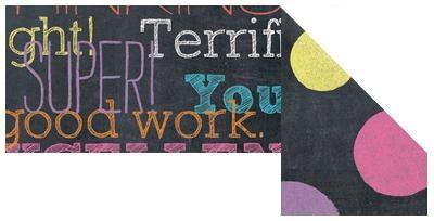 """Chalk Talk Words/Dots Double-Sided Trimmer by Renewing Minds - By combining a realistic distressed finish with a vibrant color scheme and modern designs, our exclusive Chalk Talk collection pays homage to the academia of yesteryear while maintaining a trendy chalk art appeal. For a #classroom theme that's """"chalk-full"""" of awesome, look no further than Chalk Talk! #teachers"""