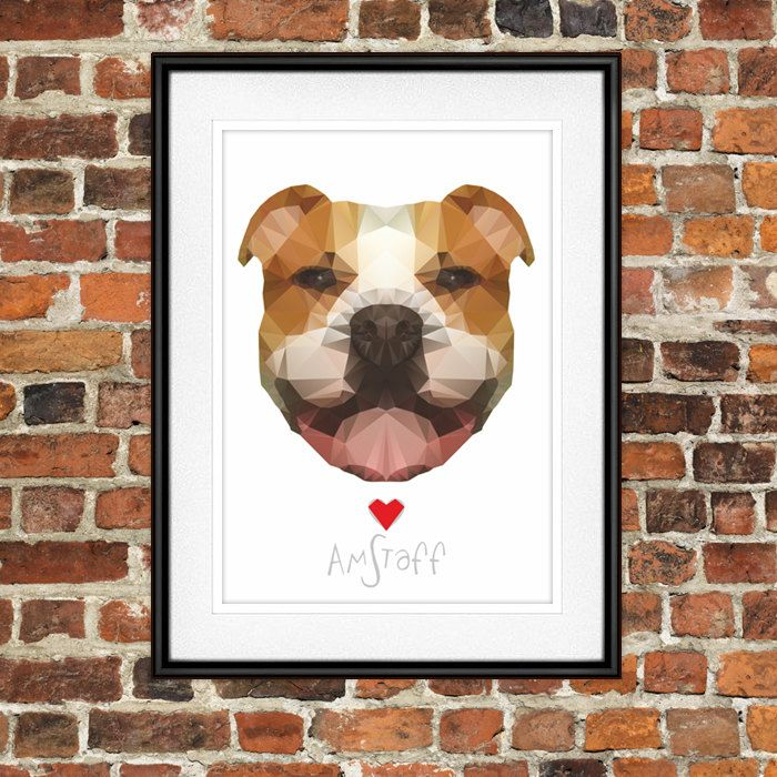 Amstaff Digital Poster Print, Wall Decor, Geo Cubistic Foxy by PSIAKREW on Etsy