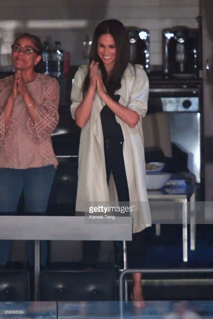 Meghan Markle (R) is seen on day 8 of the Invictus Games Toronto 2017 on September 30, 2017 in Toronto, Canada.  The Games use the power of sport to inspire recovery, support rehabilitation and generate a wider understanding and respect for the Armed Forces.  (Photo by Karwai Tang/WireImage)