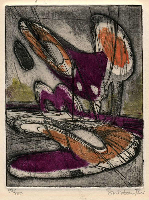 """Stanley William Hayter (1901 - 1988): """"Night Moth - Laurels Number One"""", circa 1946; aquatint, engraving, soft-ground etching and scorper, with 2 silk screens, printed in color."""