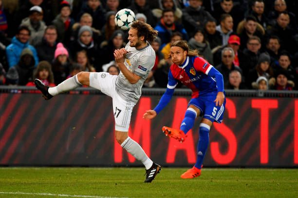 22nd November 2017 St JakobPark Basel Switzerland UEFA Champions League FC Basel versus Manchester United Daley Blind of Manchester United blocks the...
