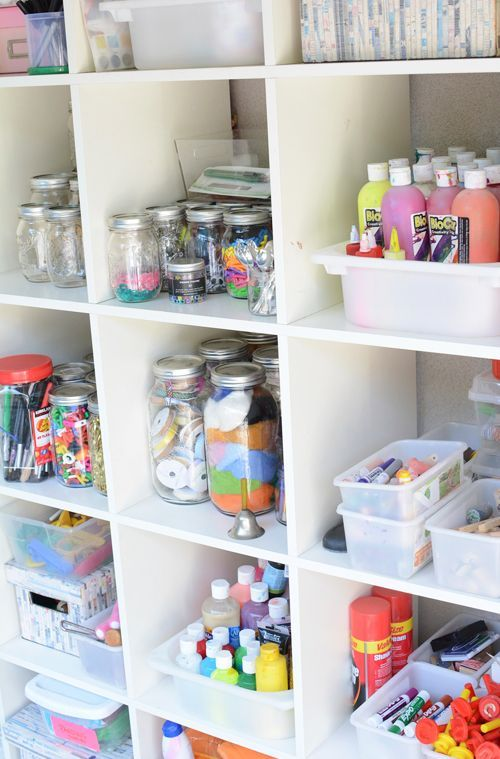One Crafty Mom's Quest to Organize Her Art Supplies - Meri Cherry.  How to organize art supplies - love her art supply ideas!