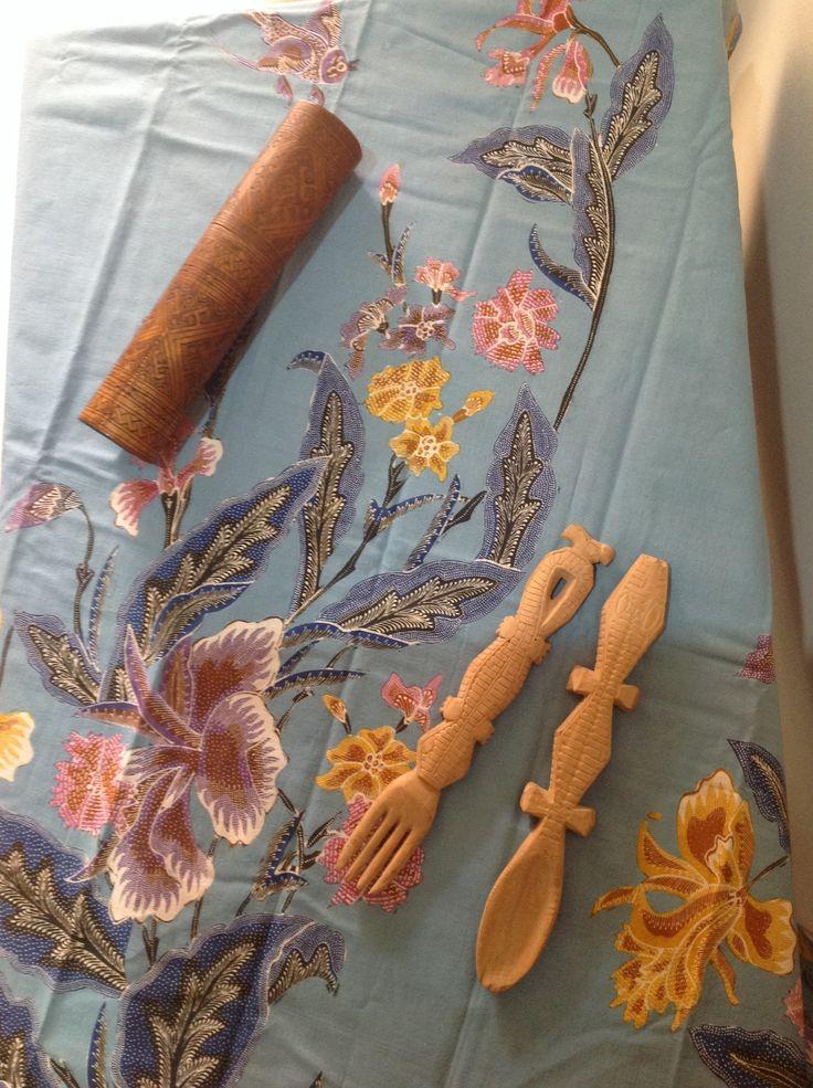 handrawn coastal batik from Alvienalfan Batik Pekalongan. cutlery  ( sandalwood) and tobacco container from West Timor