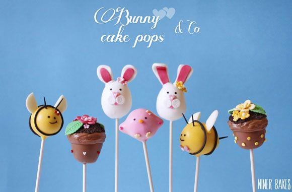 {Sweet Table} Easter Candy Bar + Bunny Cake Pops Tutorial - by niner bakes (photo: bee cake pops, flowerpot cake pops, bird cake pops)