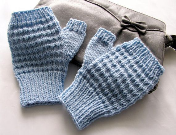 Pale Blue Wool Texting Mitts Blue Fingerless Gloves Ready to