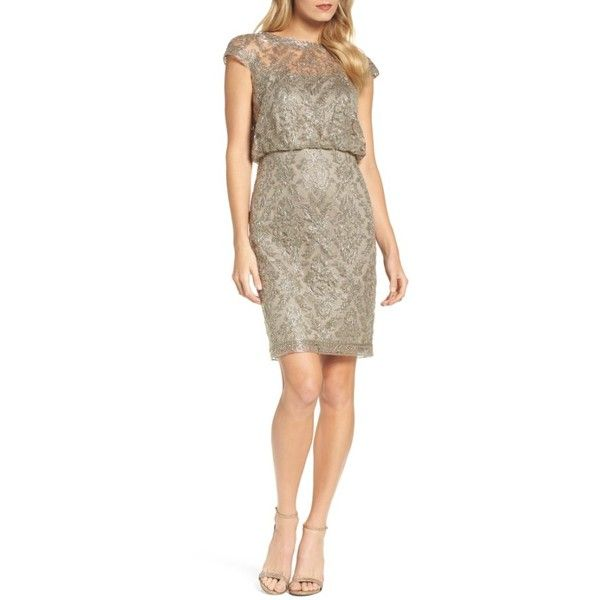 Women's Tadashi Shoji Embroidered Metallic Blouson Dress (1,455 SAR) ❤ liked on Polyvore featuring dresses, petite, smoke pearl, cocktail party dress, embroidered cocktail dress, tadashi shoji dresses, petite cocktail dress and petite dresses