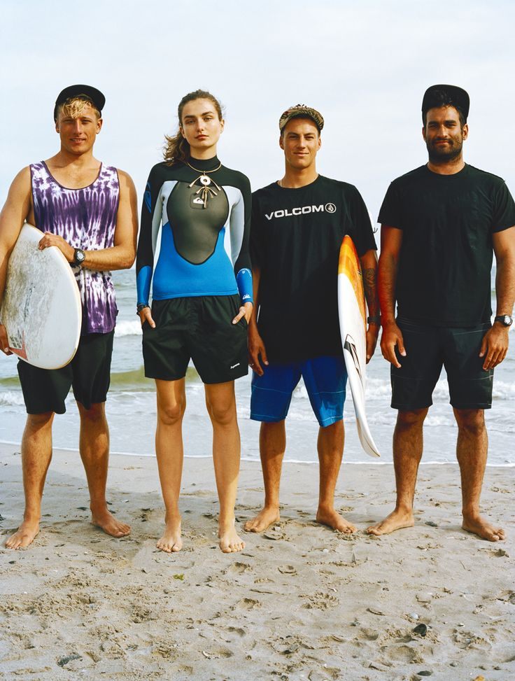 The JBay Open surf competition begins in South Africa. Aren't you inspired?Andreea Diaconu (pictured with, from left, Mike Reinhardt, Balaram Stack, and Mike Kololyan) in a Quicksilver jacket, Supreme shorts, and a Proenza Schouler necklaceQuicksilver syncro jacket, 75For information: quiksilver.comSupreme black shorts, price upon requestFor information: supremenewyork.comLocation: Rockaway Beach