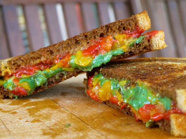 ... pepper bruschetta, green pesto Gouda, and sundried tomato pesto Gouda