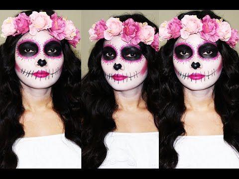 Maquillaje de Catrina Super Facil y Rapido/ Pink Sugar Skull - YouTube