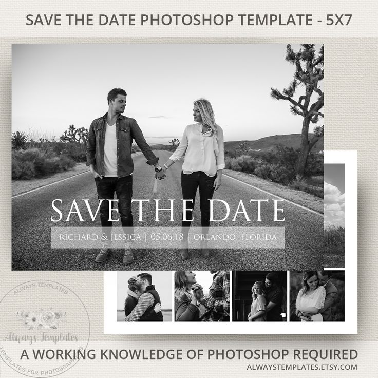 Minimalist save the date printable template on Etsy by Always Templates - #savethedate #template #photoshop #weddingplanning #weddinginvitations #engagementphoto