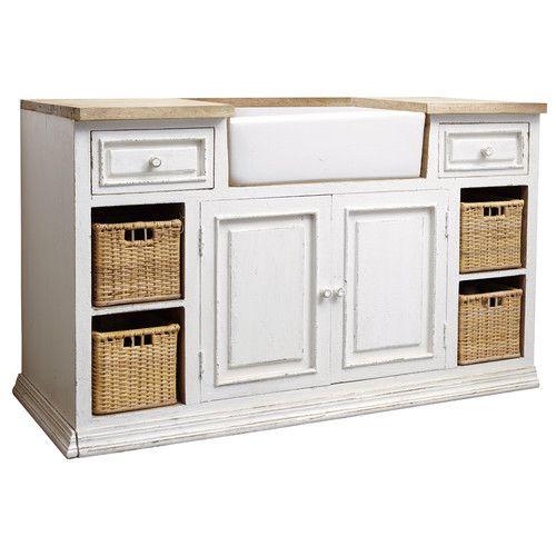 Mobile basso bianco da cucina in mango con lavello L 140 cm