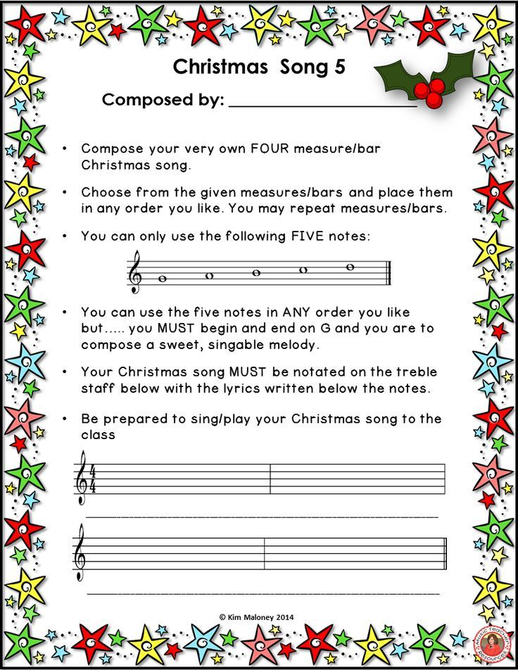 Music activities   SIX CHRISTMAS MUSIC COMPOSITION ACTIVITIES Have your students compose and perform their very own songs for CHRISTMAS!! ♫ This file contains SIX guided music compositions activities, including ONE sheet where the teacher is able to draw in the notes to be used in the song ♫ #musiceducation