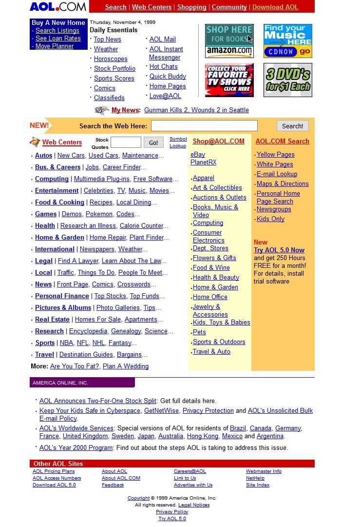 AOL website in 1999