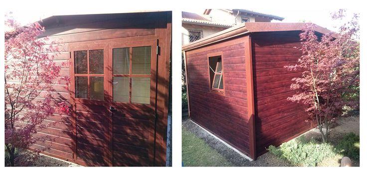 Casetta in alluminio coibentata in tinta legno con porta a due ante e stile inglese su porta e finestra