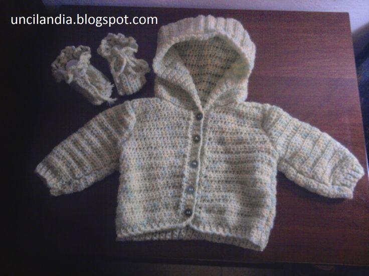 Uncilandia: Golfino con cappuccio per neonato e scarpine coordinate all'uncinetto........Baby hooded sweater and booties crochet coordinates