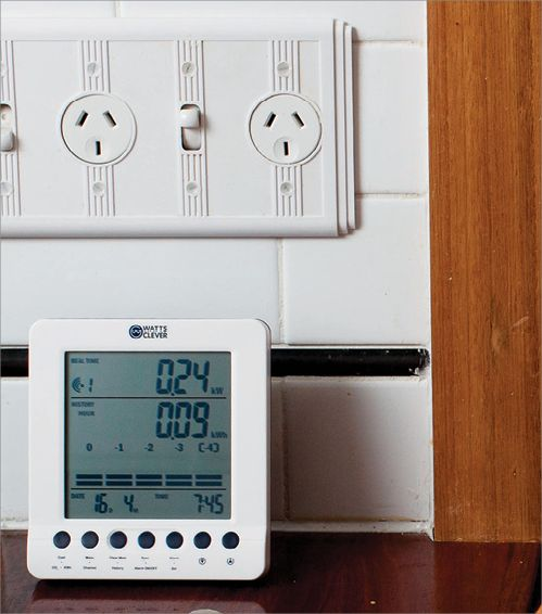 An in-home display provides digital graphical information about home power usage, including an estimate cost per month, energy used for the previous day over the night, day and evening; energy used in the last seven days, a clock and a current temperature reading.