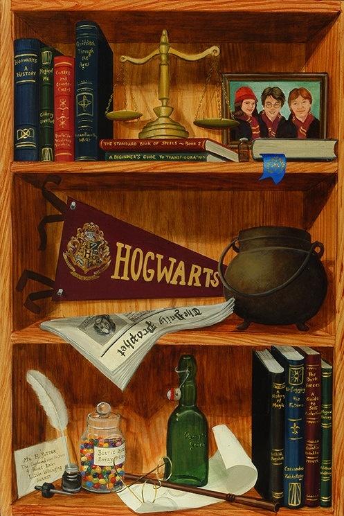 Harry Potter wallpapers - Gryfindor bookshelf