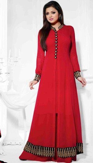 Drashti Dhami Poly Georgette Red Beautiful Palazzo Style Anarkali Suit With Chiffon Dupatta
